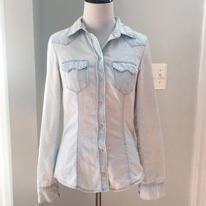 H&M Faded Blue Western Style Chambray Shirt